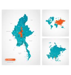 Editable template map myanmar - burma vector