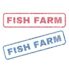 Fish farm textile stamps vector