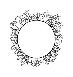 floral frame border doodle circle frame vector image