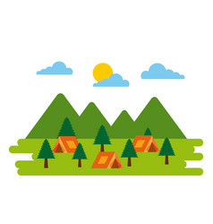 Forest camp tents tree pine natural adventure vector