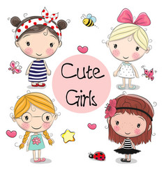 Four cute girls on a white background vector