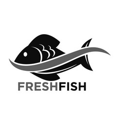 Fresh fish market promotional black and white logo vector