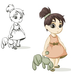 girl with a toy bunny vector image