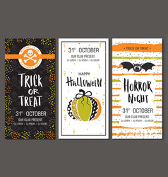 Halloween party invitations vertical banners set vector