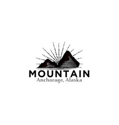 hand draw hipster mountain logo and star burst vector image
