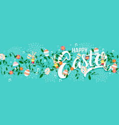 Happy easter spring typography text web banner vector