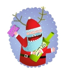 Happy Funny Monster Santa Claus with present and vector