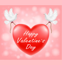 happy valentine day red heart with white pigeon il vector image