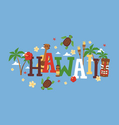 hawaii typography travel vector image