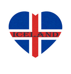 Iceland flag in heart shape icelandic banner with vector