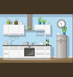interior equipment of a modern kitchen vector image