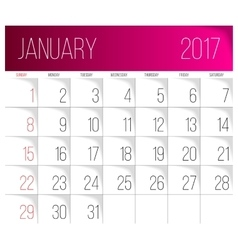 January 2017 calendar template vector image