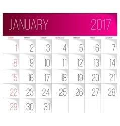 January 2017 calendar template vector