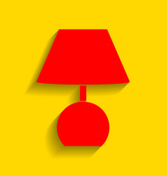 lamp sign red icon with soft vector image