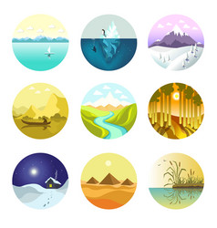 Landscape nature icons of mountains ocean vector