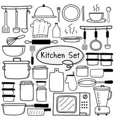 Line hand drawn doodle kitchen set vector