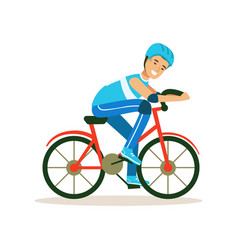 Male cyclist character riding bicycle active vector