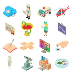 medicine icons set isometric style vector image