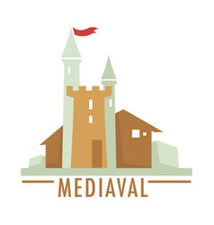 Medieval castle with flag ribbon top architecture vector