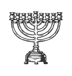 Menorah hanukkah engraving vector