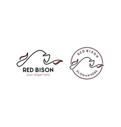 Minimalist bull cow bison logo designs vector
