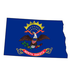 North dakota outline map and flag vector