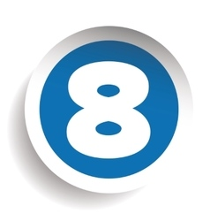 Number Eight sticker blue vector image