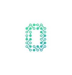 O circuit digital letter and number logo icon vector