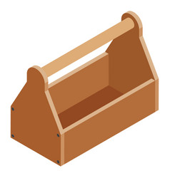Old empty carpenter wooden toolbox isolated on vector