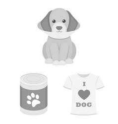 Pet dog monochrome icons in set collection for vector
