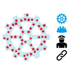 Polygonal carcass gear icon with coronavirus nodes vector