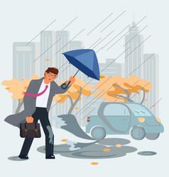 rainy and windy day vector image