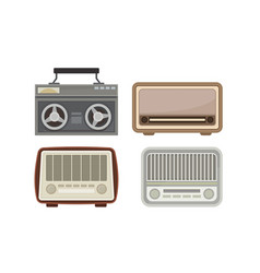Retro receiving set collection old radio vector