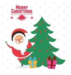 Santa cartoon and pine tree of Christmas design vector