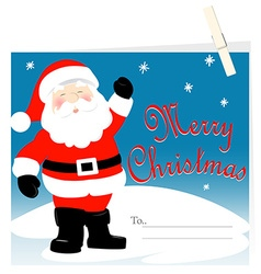 Santa Claus Merry Christmas card with peg vector