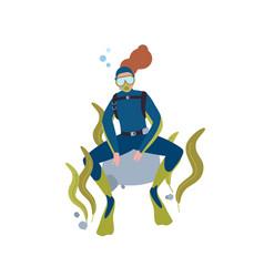 Scuba diving hobby flat vector
