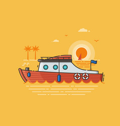 Sea vacation with red speed boat vector
