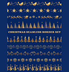 set of christmas seamless borders vector image