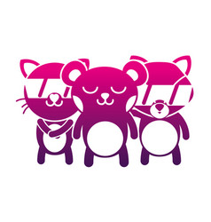 Silhouette cute happy animals friends togethers vector
