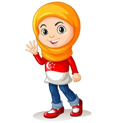 Singapore girl with head cloth waving vector image