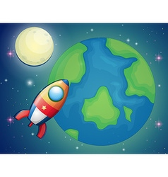 Spaceship flying over the world vector image