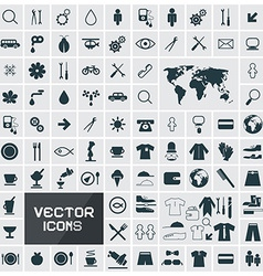Square Flat Icons Set vector image