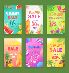 summer sale posters offer set vector image