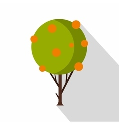 Tangerine tree icon flat style vector
