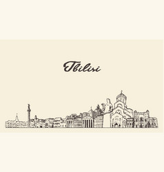 Tbilisi skyline georgia hand drawn sketch vector