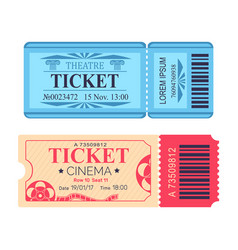 Theatre and cinema tickets set with emblem icons vector
