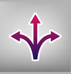 Three-way direction arrow sign purple vector
