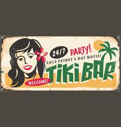 tiki bar retro sign idea with hawaiian girl vector image