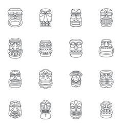 tiki idol aztec hawaii icons set outline style vector image