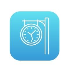 Train station clock line icon vector